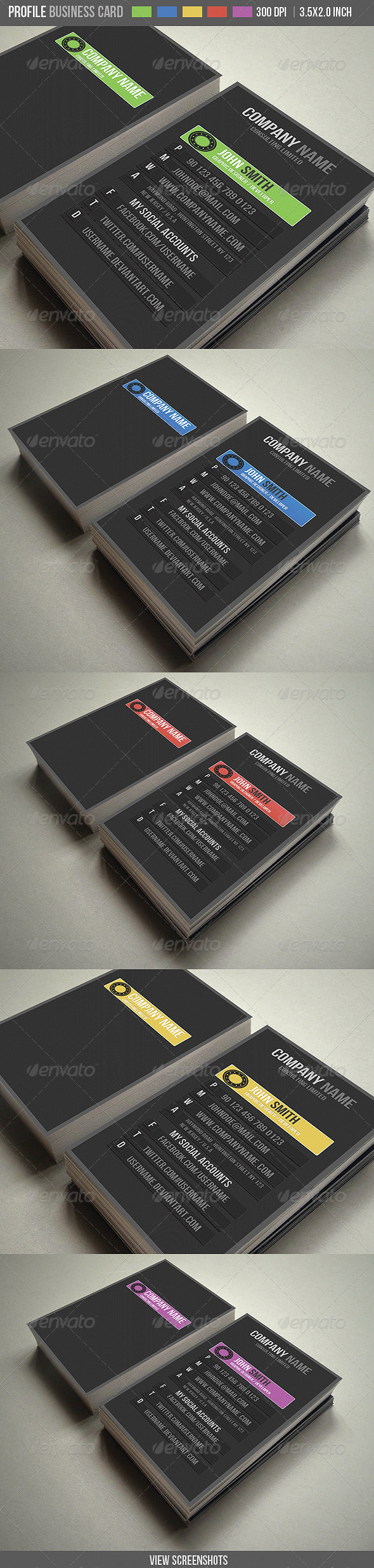 GraphicRiver PROFILE Business Card 5 Different Color 1686078