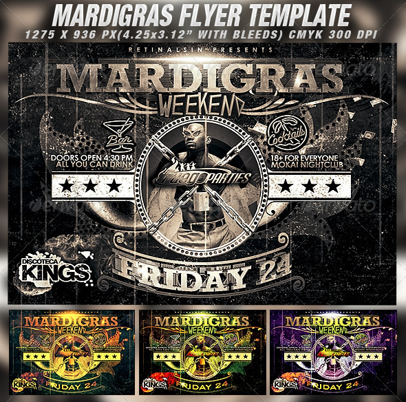 GraphicRiver Mardigras Weekend Flyer Template 1551429