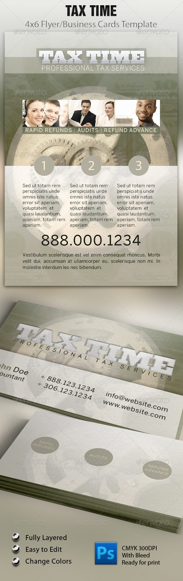 GraphicRiver Tax Time Flyer & Business Card 1557205