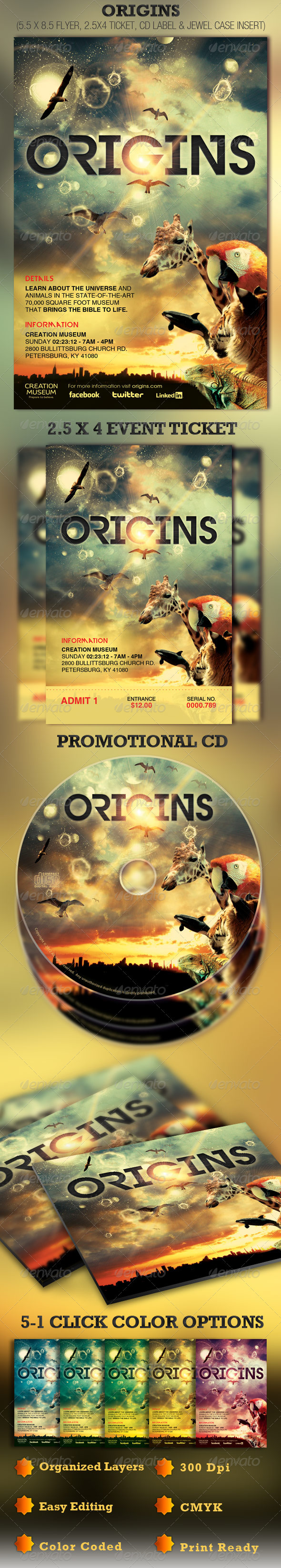GraphicRiver Origins Flyer Ticket and CD Template 1690180