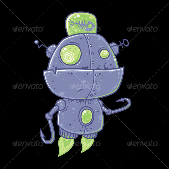 Graphic River Fishing Robot Cartoon Vectors -  Characters  Other 65982