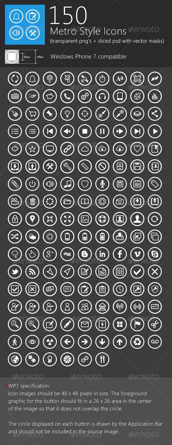 GraphicRiver 150 Unique Metro Style Icons 1693441