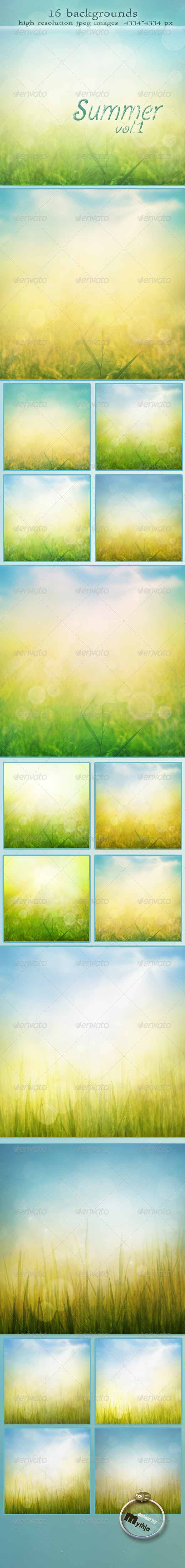 GraphicRiver Summer Backgrounds with Bokeh Effect vol.1 1694423