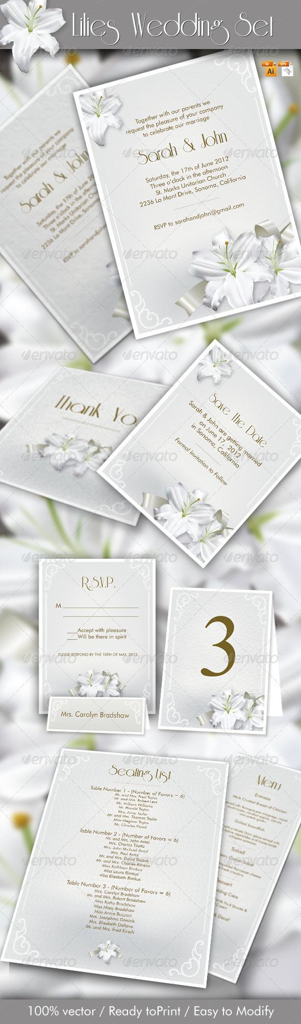 GraphicRiver Lilies Wedding Set 1694540