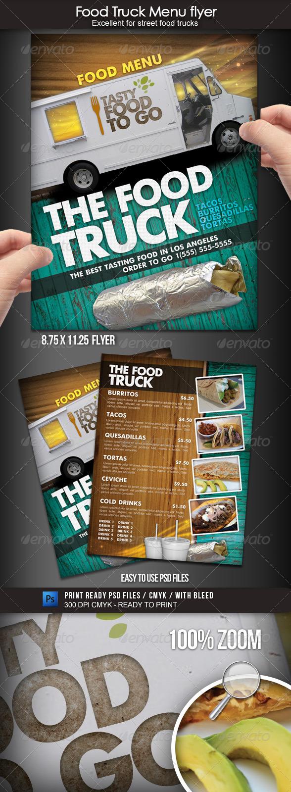 Food truck menu flyer graphicriver for Food truck menu design