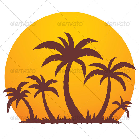 GraphicRiver Palm Trees And Summer Sunset 66538
