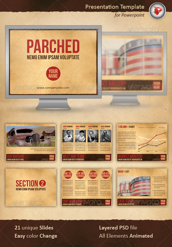 GraphicRiver Parched Powerpoint Template 1711141