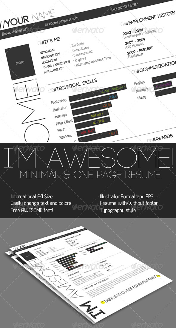 GraphicRiver One Page Minimal Resume 195091