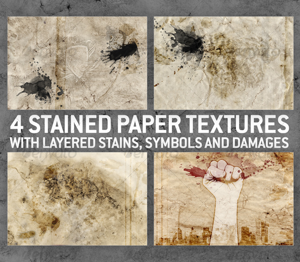 GraphicRiver 4 Stained Paper Backgrounds with Layered Stains 66822