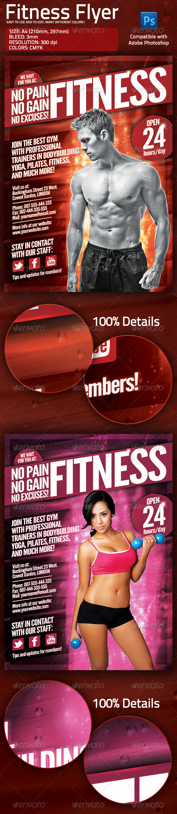 GraphicRiver Fitness Gym Flyer with Multiple Color Options 1715942