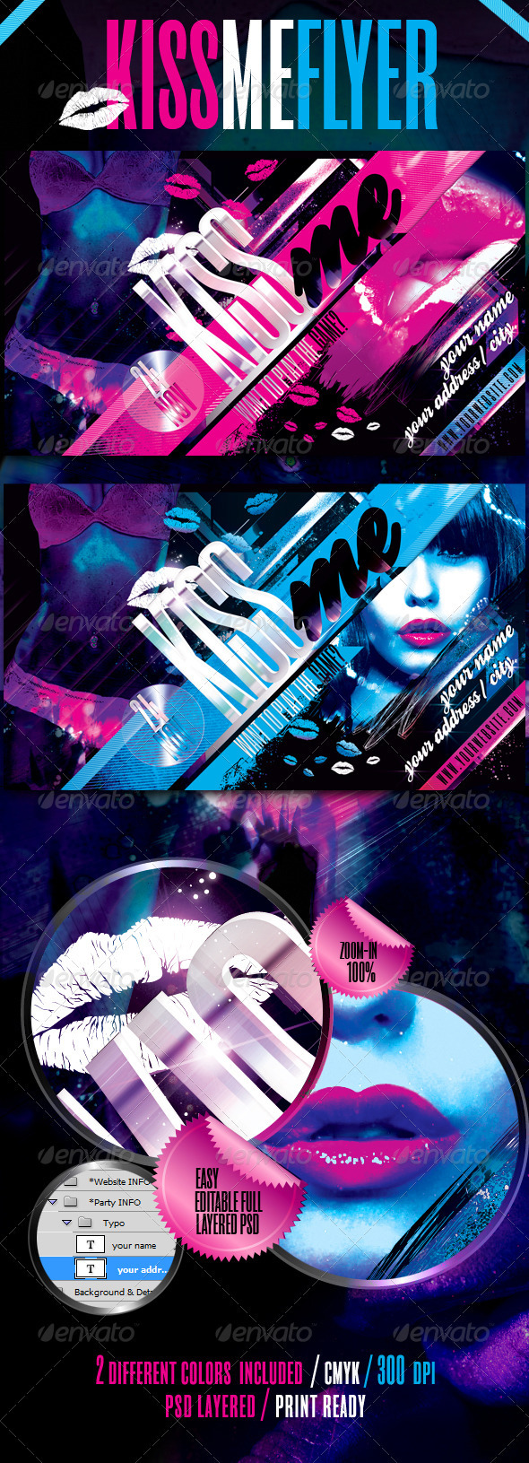 Graphic River Kiss Me Flyer Template Print Templates -  Flyers  Events  Clubs & Parties 742918