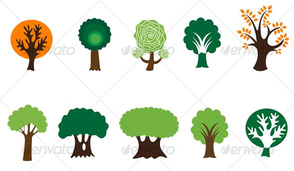 GraphicRiver Set of tree symbols 67219