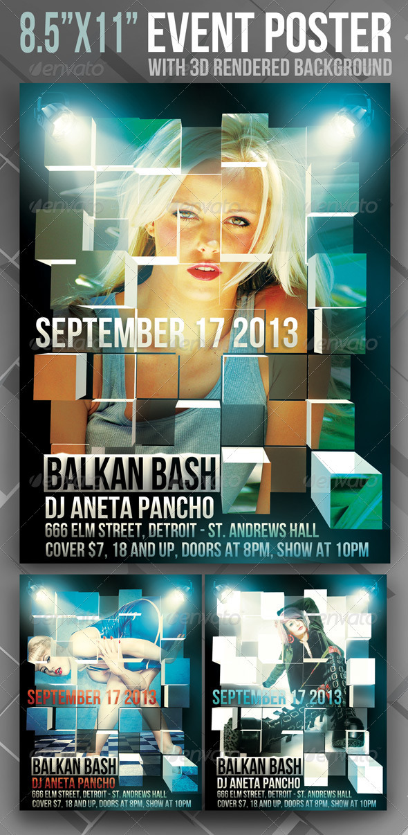 GraphicRiver 8.5 x11 Event Poster with 3D Rendered Background 1739554