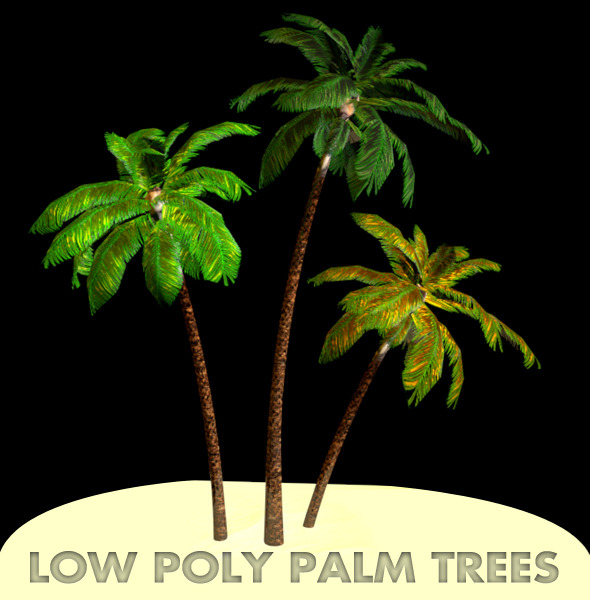 3d model Low Poly Palm tree