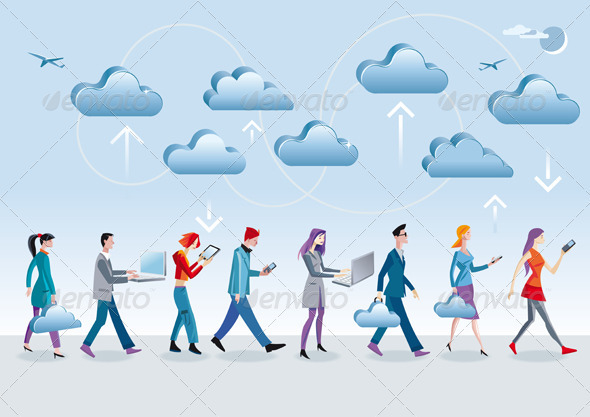GraphicRiver Cloud Computing Walking 1745818