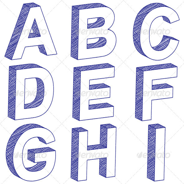 3D scratch letters from A to I on a white background. Vector ...