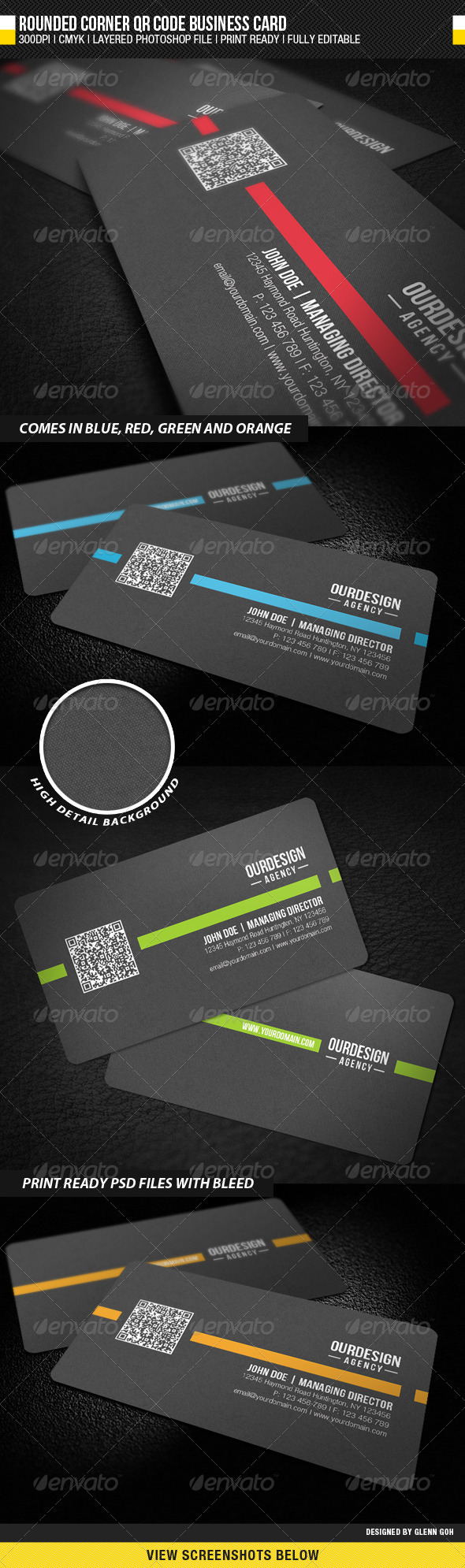 GraphicRiver Rounded Corner QR Code Business Card 1768207
