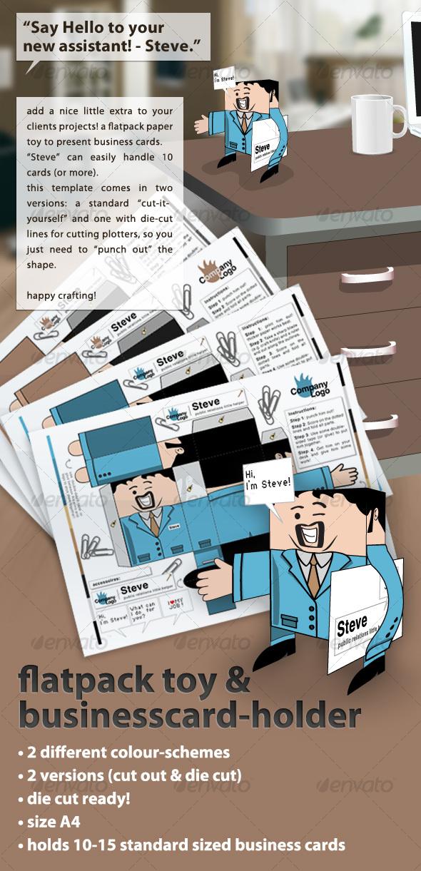 GraphicRiver flatpack papertoy & businesscard-holder Steve