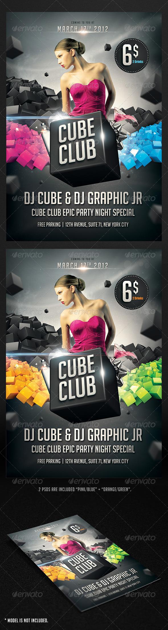 GraphicRiver Cube Club Flyer 1747762