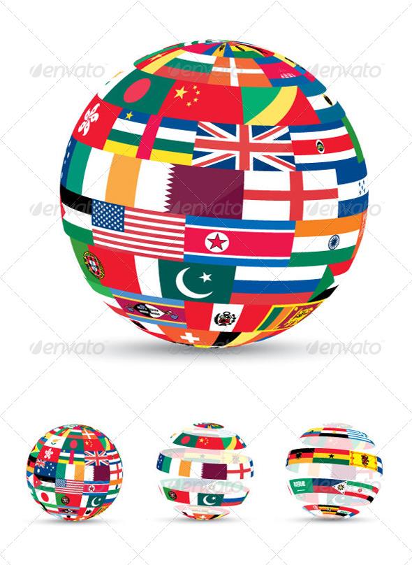 Graphic River 3D Flag World Vectors -  Miscellaneous 208410