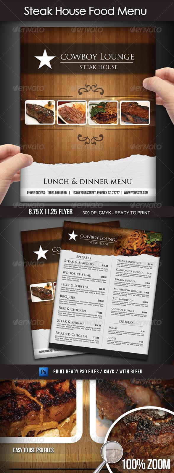 GraphicRiver Steak House Menu Flyer 1721529