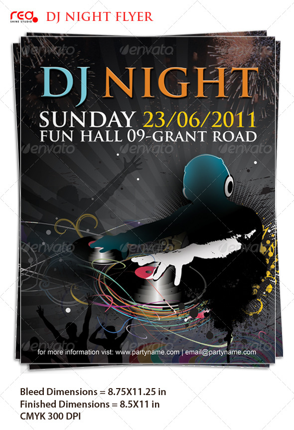 GraphicRiver Beautiful Dj Night Poster Flyer Template 209835