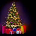 Christmas Tree with Gifts isolated on black - PhotoDune Item for Sale