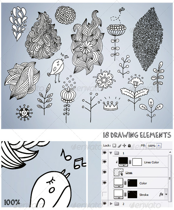GraphicRiver 18 Drawing Elements 179998