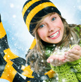 Christmas Girl.Winter Teenage girl Blowing Snow .New Year celebr - PhotoDune Item for Sale
