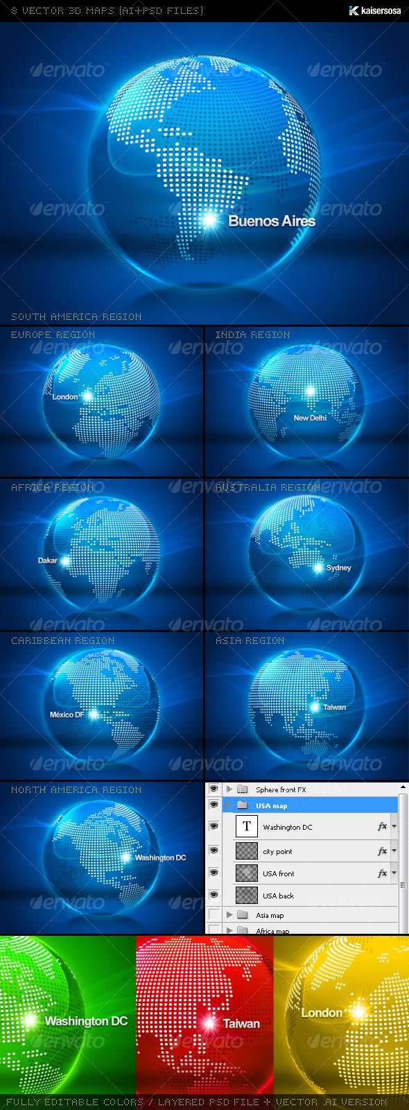 GraphicRiver 8 Vector 3D Maps AI&PSD Files 70866