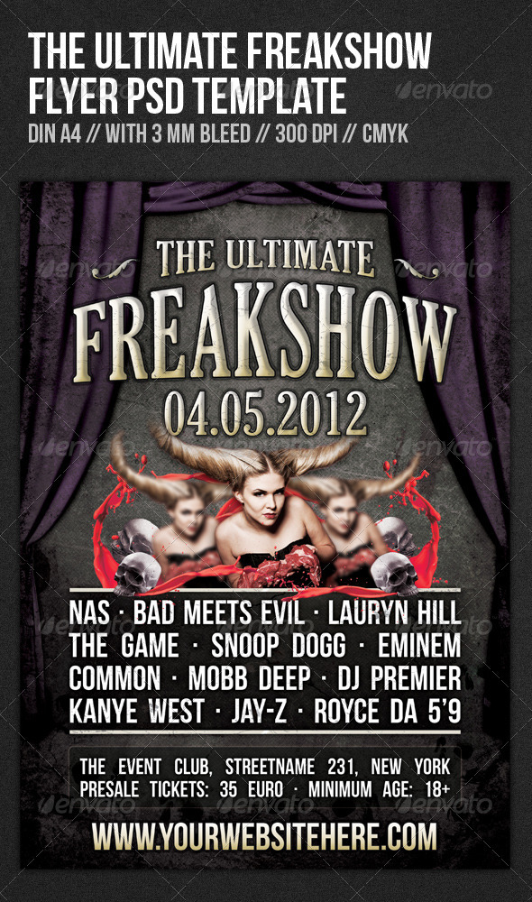 Graphic River The Ultimate Freakshow Flyer Template Print Templates -  Flyers  Events  Clubs & Parties 1046426
