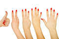 Set of counting woman hands 1 to 5 isolated on white background - PhotoDune Item for Sale