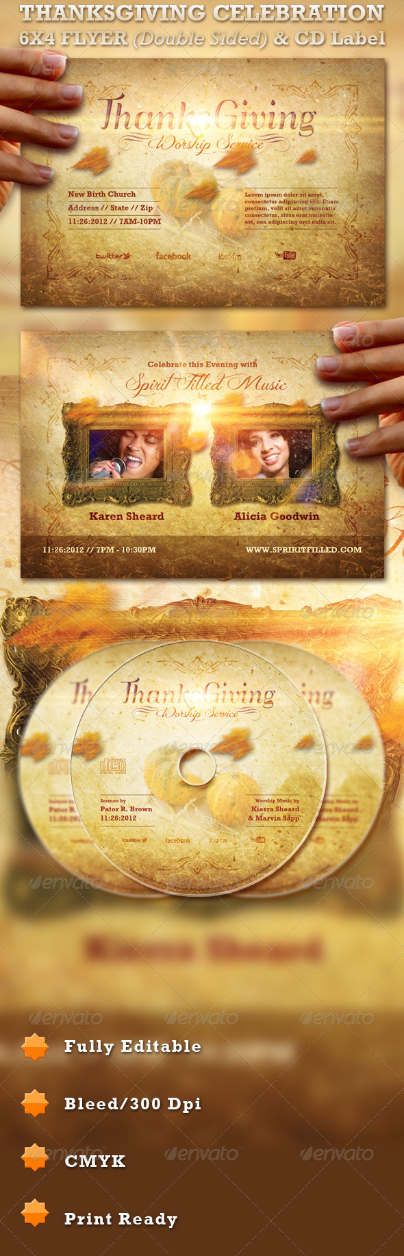 GraphicRiver Thanksgiving Celebration Flyer and CD Label 758146