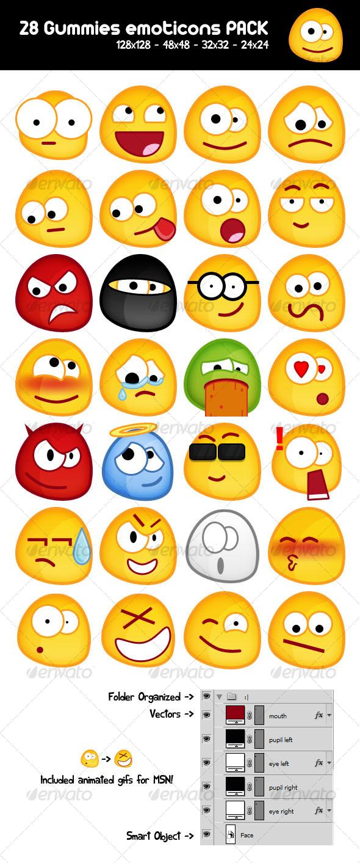 GraphicRiver 28 Gummy emoticons PACK 71752
