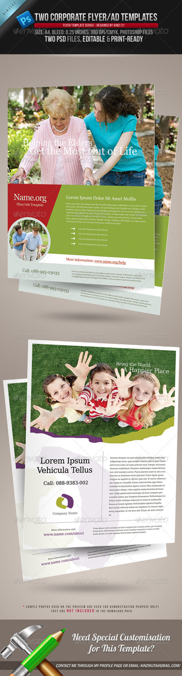 GraphicRiver 2 Corporate-Style Flyer Ads Templates 245086