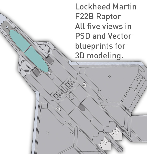 3DOcean Lockheed F22 B Raptor blueprints for 3D modeling 2D Concepts -  Vehicles 1848952