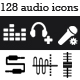 128 Audio / Music Application Icons: Black & White - GraphicRiver Item for Sale