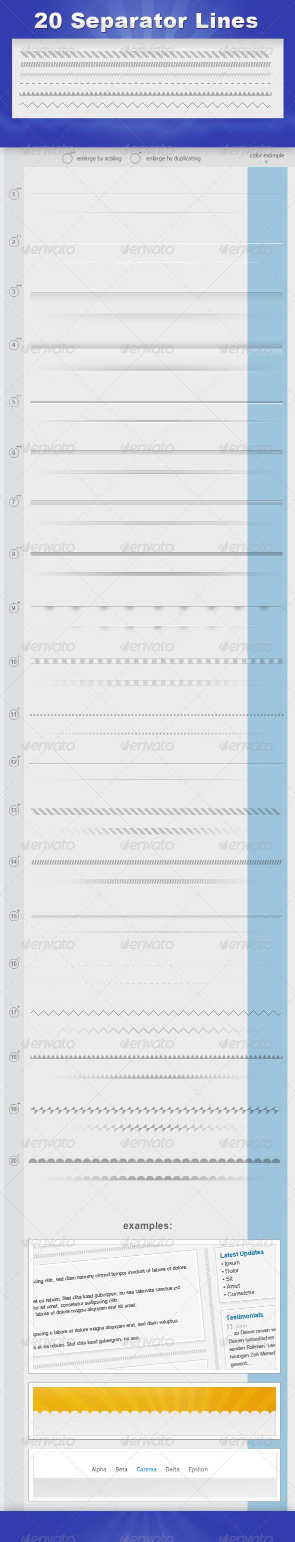 GraphicRiver 20 Separator Lines 1852785
