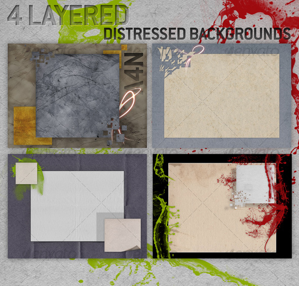 GraphicRiver 4 Layered Distressed Backgrounds 72289