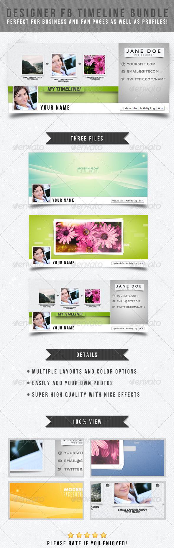 GraphicRiver Designer Facebook Timeline Bundle 1825450