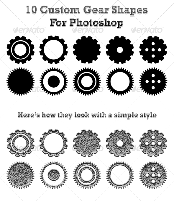 GraphicRiver 10 Custom Gear Shapes For Photoshop 72907