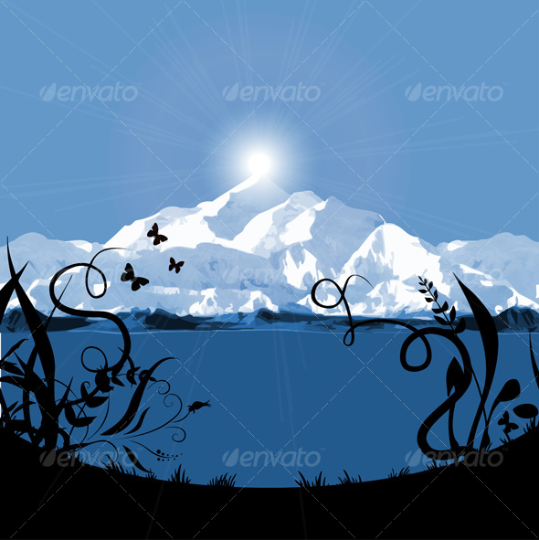 GraphicRiver mountain sunset sunrise card 73049