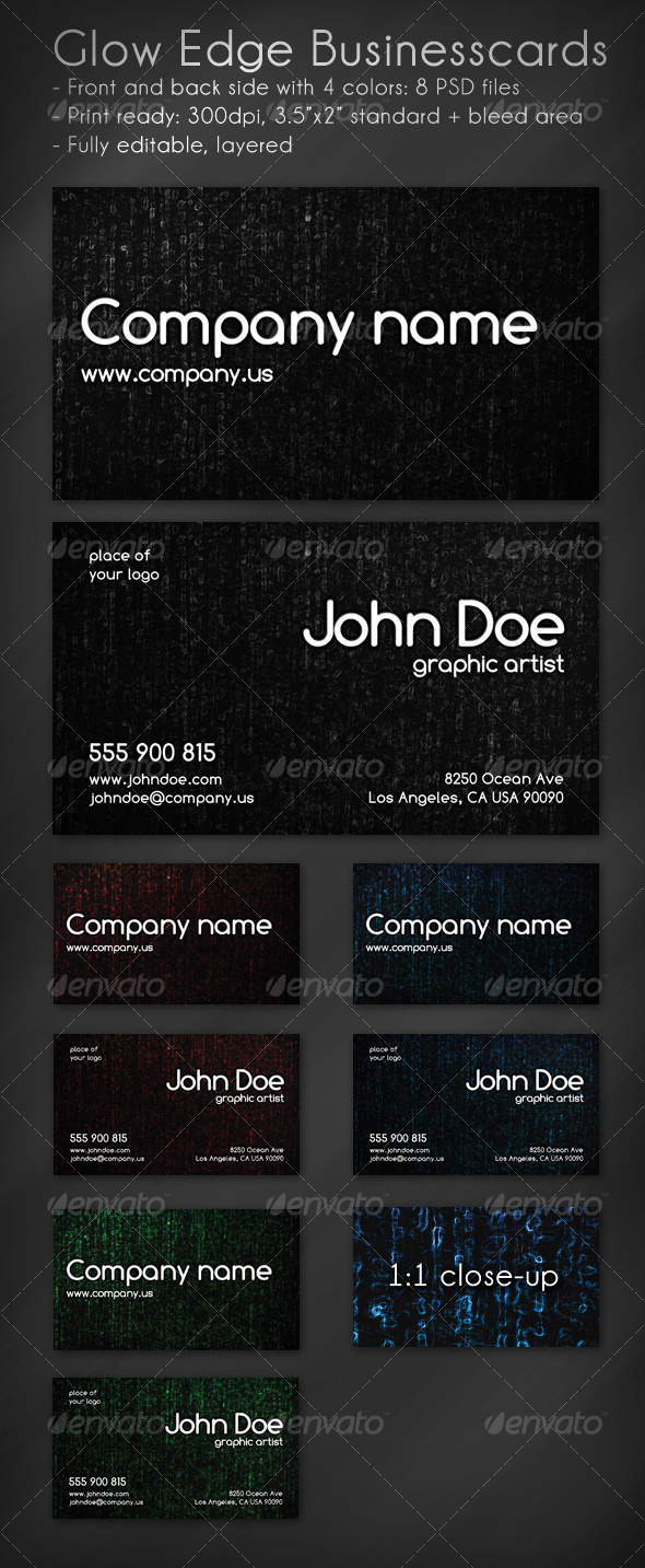 GraphicRiver Glow Edge Business Card 73192