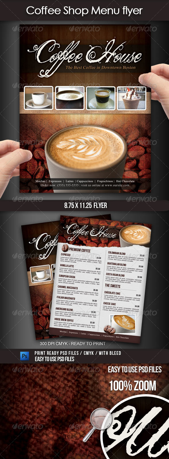 GraphicRiver Coffee Shop Menu Flyer 1898164