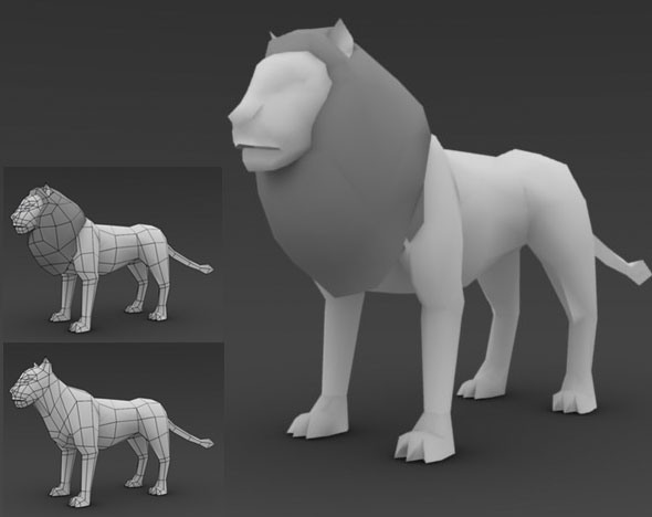 3DOcean Low Poly Lion 73642