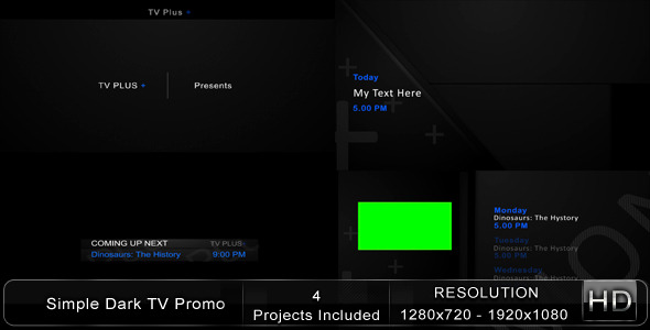 After Effects Project - VideoHive Simple Dark TV Promo 1865477