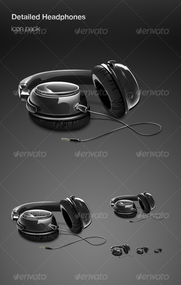 GraphicRiver Detailed Headphones icon pack 74160