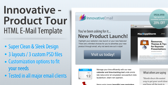 Innovative product tour html email template by index2 for New product launch email template