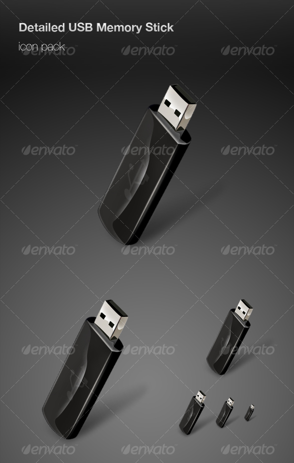 Graphic River Detailed USB Memory Stick icon pack Icons -  Technology 74167