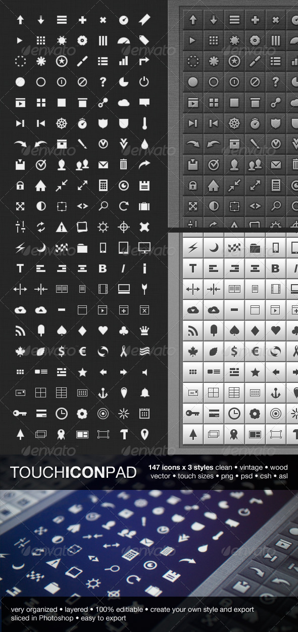 GraphicRiver 147 Touch Icon Pad icons 1918853
